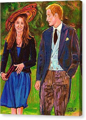 Prince William And Kate The Young Royals Canvas Print by Carole Spandau