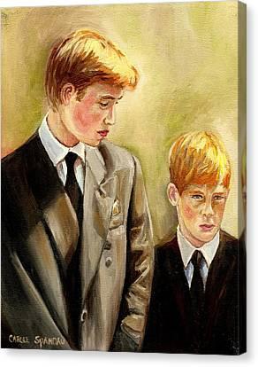 Prince William And Prince Harry Canvas Print by Carole Spandau