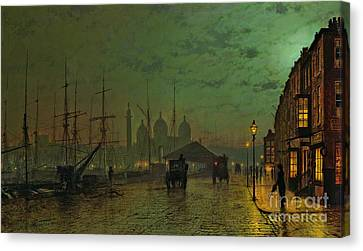 Prince's Dock Hull Canvas Print by John Atkinson Grimshaw