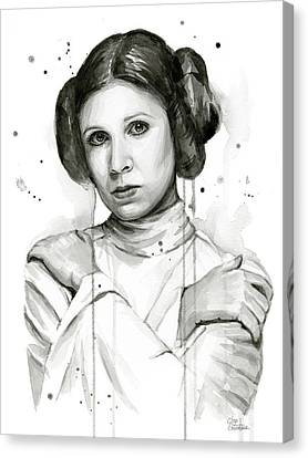 Princess Leia Portrait Carrie Fisher Art Canvas Print by Olga Shvartsur