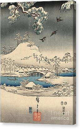 Print From The Tale Of Genji Canvas Print by Hiroshige