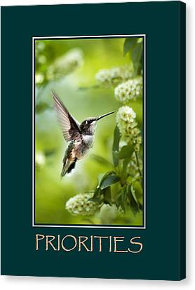 Priorities Inspirational Motivational Poster Art Canvas Print by Christina Rollo