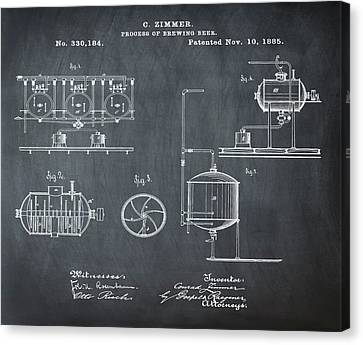 Process Of Brewing Patent 1885 In Chalk Canvas Print by Bill Cannon