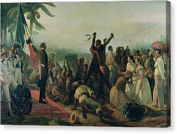 Proclamation Of The Abolition Of Slavery In The French Colonies Canvas Print by Francois Auguste Biard