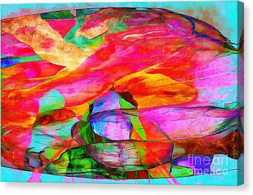 Profound Thought Rainbow Splattered Canvas Print by Catherine Lott
