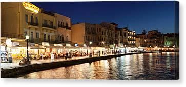 Promenade At Venetian Port, Chania Canvas Print by Panoramic Images