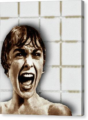 Psycho By Alfred Hitchcock, With Janet Leigh Shower Scene V Color Canvas Print by Tony Rubino