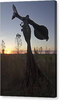 Public Art At Sun Rise Canvas Print by Sven Brogren