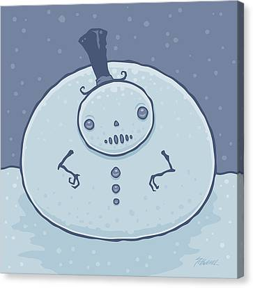Pudgy Snowman Canvas Print by John Schwegel