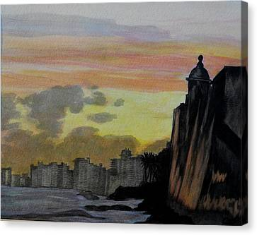 Puerto Rican Sunset Canvas Print by Liz Borkhuis