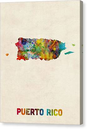 Puerto Rico Watercolor Map Canvas Print by Michael Tompsett
