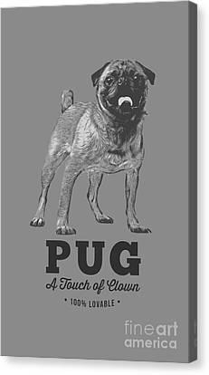 Pug Dog Touch Of Clown T-shirt Canvas Print by Edward Fielding