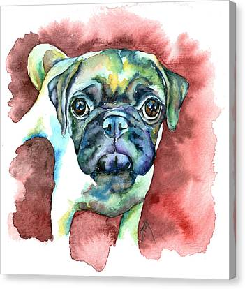 Pug In Red Canvas Print by Christy  Freeman