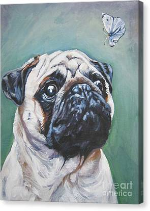 Pug With Butterfly Canvas Print by Lee Ann Shepard