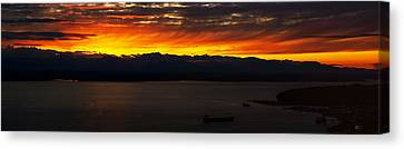 Puget Sound Olympic Mountains Sunset Canvas Print by Mike Reid