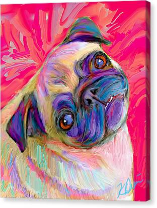 Pugsly Canvas Print by Karen Derrico