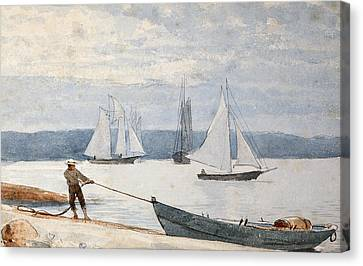 Pulling The Dory Canvas Print by Winslow Homer