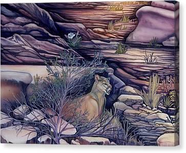 Puma In The Desert Canvas Print by Sevan Thometz
