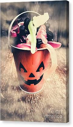Pumpkin Head In A Misty Halloween Scene Canvas Print by Jorgo Photography - Wall Art Gallery