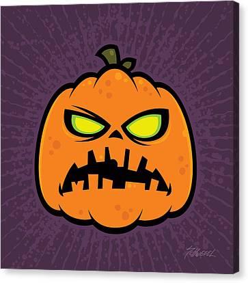 Pumpkin Zombie Canvas Print by John Schwegel