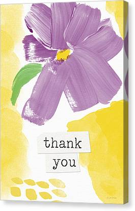 Purple Flower Thank You Card- Art By Linda Woods Canvas Print by Linda Woods