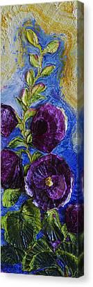 Purple Hollyhocks Canvas Print by Paris Wyatt Llanso