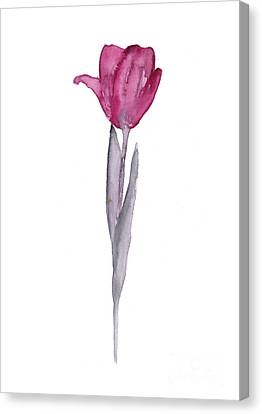 Purple Tulip Botanical Artwork Poster Canvas Print by Joanna Szmerdt