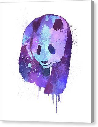Purple Watercolor Panda Canvas Print by Thubakabra