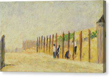 Pushing In The Poles Canvas Print by Georges Pierre Seurat
