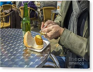Putting Musterd On A Meat Croquette Canvas Print by Patricia Hofmeester