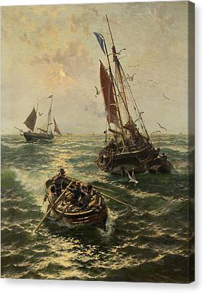 Putting The Catch Ashore Canvas Print by Thomas Rose Miles