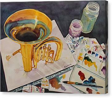 Pygmalion Joins The Band Canvas Print by Jenny Armitage