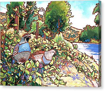 Quails And Blackberries Canvas Print by Nadi Spencer