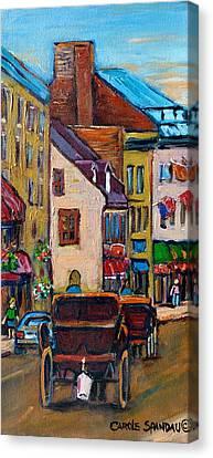 Quebec City Street Scene  Caleche Ride Canvas Print by Carole Spandau