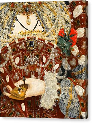 Queen Elizabeth I   Detail From The Pelican Portrait Canvas Print by Nicholas Hilliard