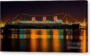 Queen Mary - Nightside Canvas Print by Jim Carrell
