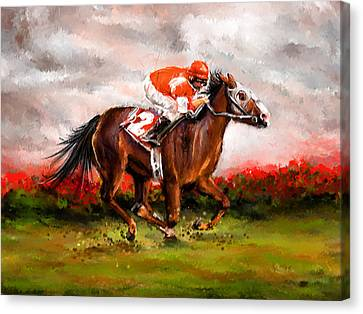 Quest For The Win - Horse Racing Art Canvas Print by Lourry Legarde
