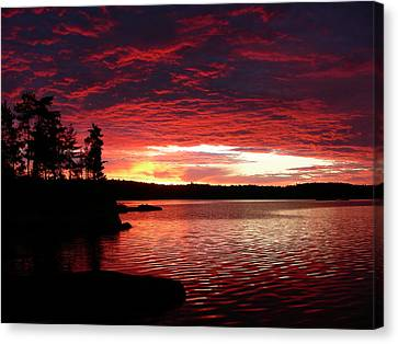 Quetico Sun Rise Canvas Print by Peter  McIntosh