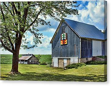 Quilt Barn - Nebraska - Forest For The Trees Canvas Print by Nikolyn McDonald