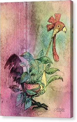Quirky Rooster Planter Canvas Print by Arline Wagner