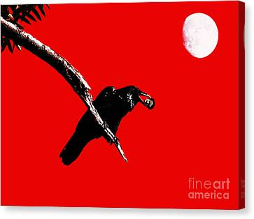 Quoth The Raven Nevermore . Red Canvas Print by Wingsdomain Art and Photography