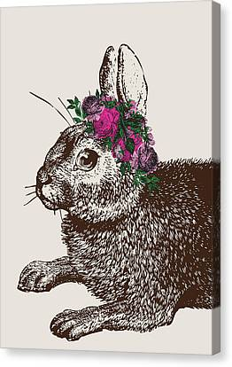 Rabbit And Roses Canvas Print by Eclectic at HeART