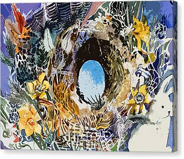 Rabbit Hole Or Robin Egg Canvas Print by Mindy Newman