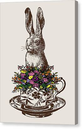 Rabbit In A Teacup Canvas Print by Eclectic at HeART