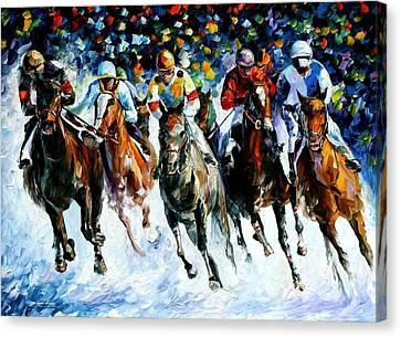 Race On The Snow Canvas Print by Leonid Afremov