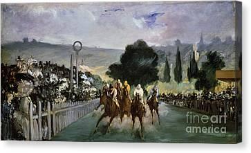 Races At Longchamp Canvas Print by Edouard Manet