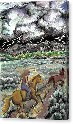 Racing The Lightning Home Canvas Print by Dawn Senior-Trask
