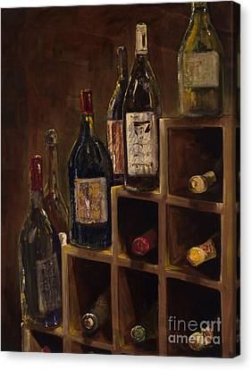 Rack Of Wine Canvas Print by Jodi Monahan