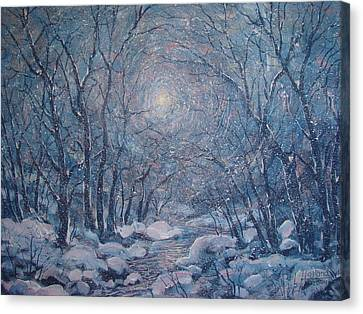 Radiant Snow Scene Canvas Print by Leonard Holland