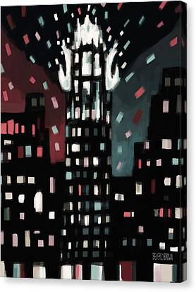 Radiator Building Night Canvas Print by Beverly Brown Prints
